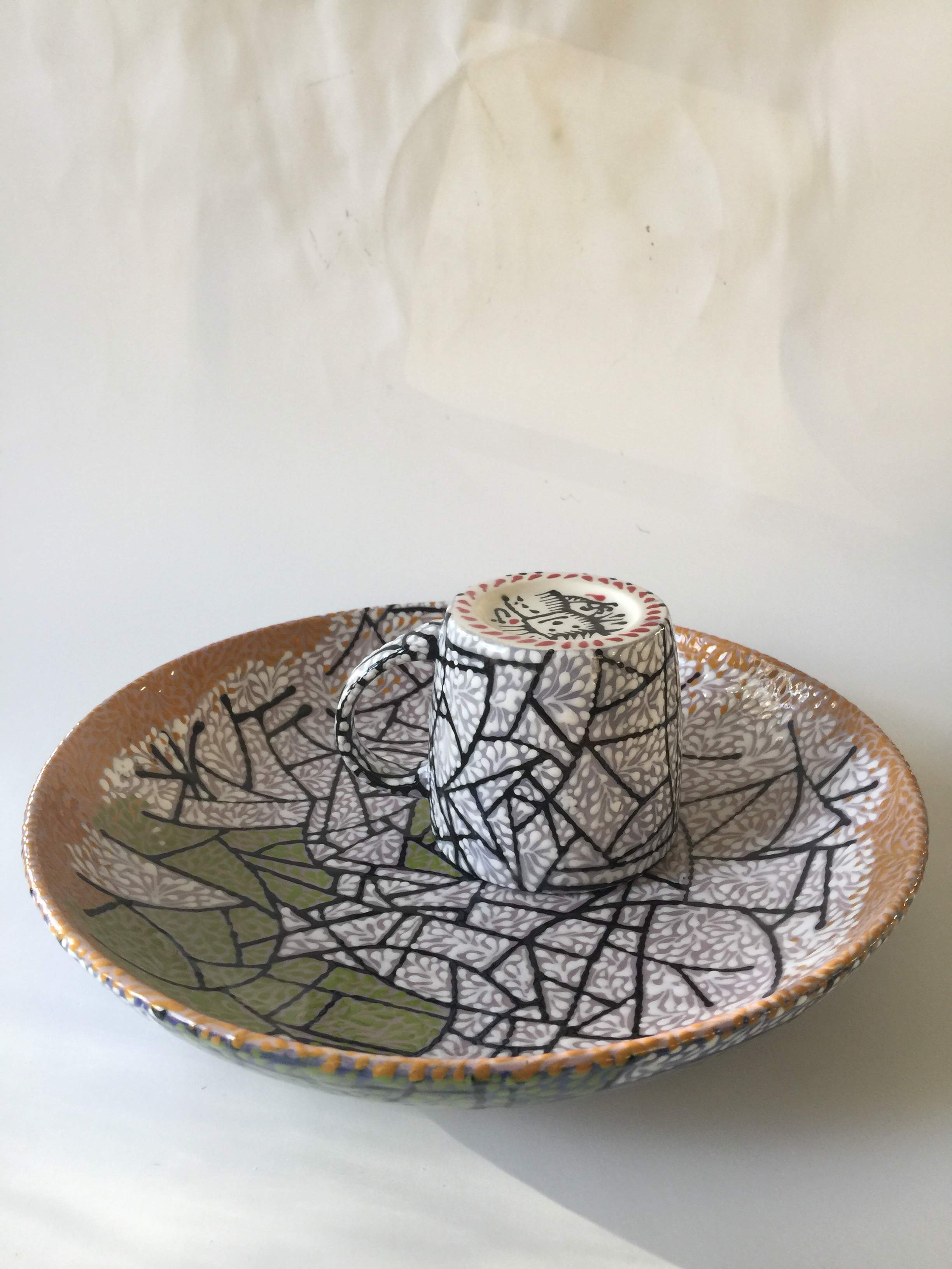 CRACKED ICE WITH SPRIGS SERVING PLATE