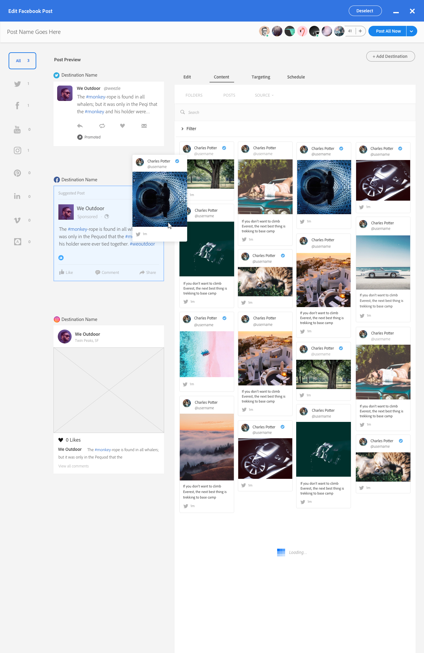 This design added tabs for each network as each has its own specific features and options, this also made content browsing a focus but ultimately put the balance of the page off so I decided to have an editing area be the focus and asset browsing be in a contextual rail.
