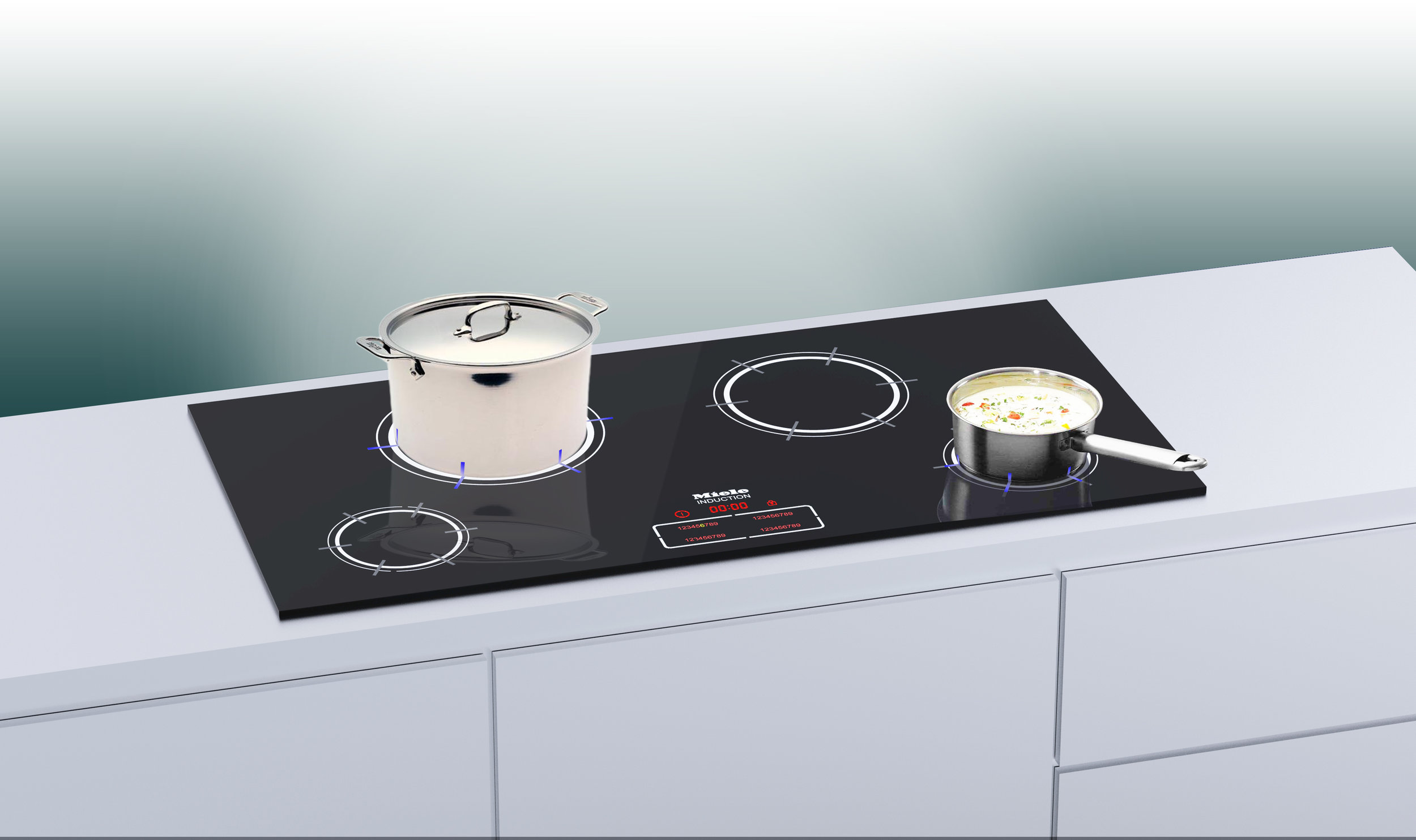Visual Temperature - LED lights built into an induction hob shine a temperature indicator onto pots when cooking. It is a nod to the traditional gas flame and provides for a more intuitive interaction with temperature.Featured in Wired.