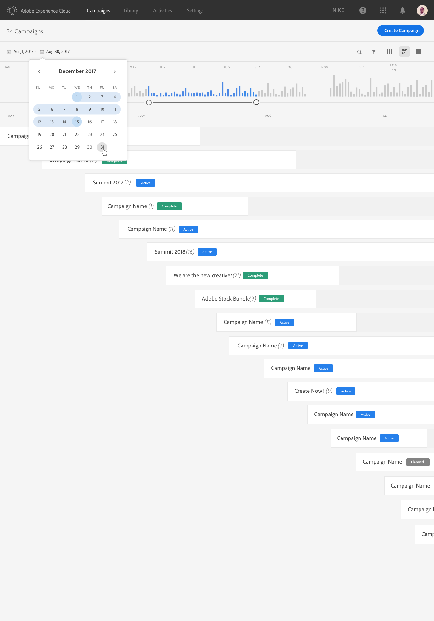 Campaign Timeline - As companies can have tens of thousands of marketing activities, they needed to be able to be organized into campaigns and inside a single campaign users wanted the ability for multiple dedicated calendar views, e.g. summer 2019 campaign with a calendar dedicated to each region.