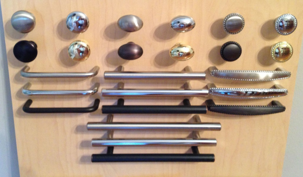 Samples of knobs, and pulls we offer as hardware for drawers and cabinets