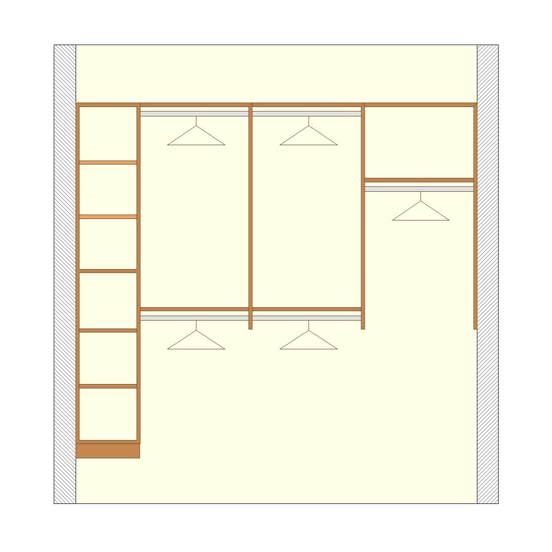 Shelving w/Short & Long Hanging Racks - Premium Walk-In Closet