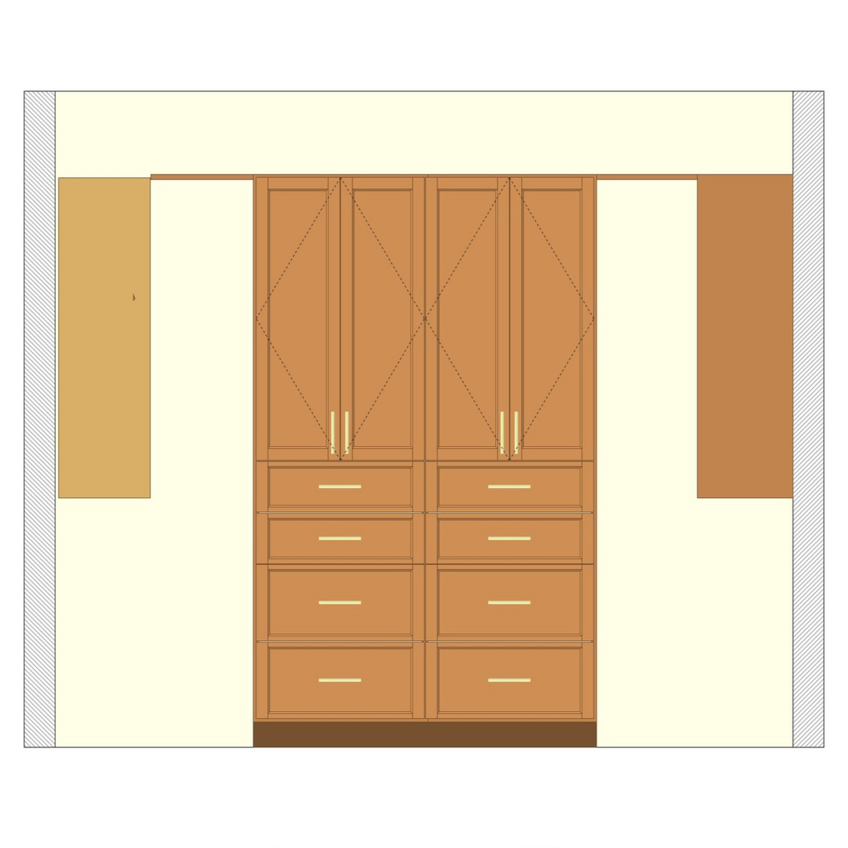 Double Cabinets & Drawer Units - Deluxe Walk-In Closet