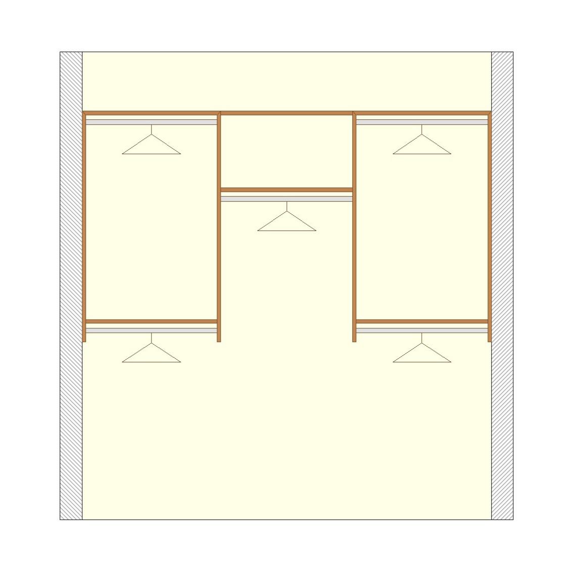 Basic reach-in closet configuration