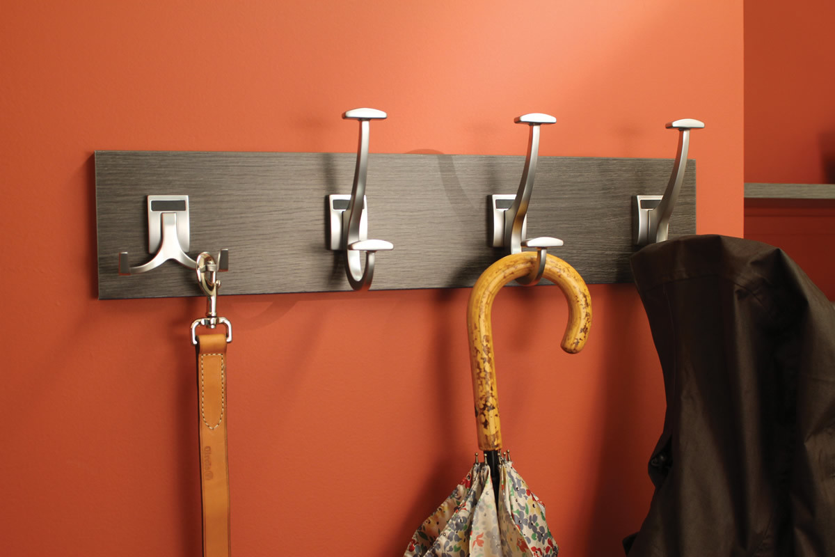 Contemporary Brushed Nickel Hook Board