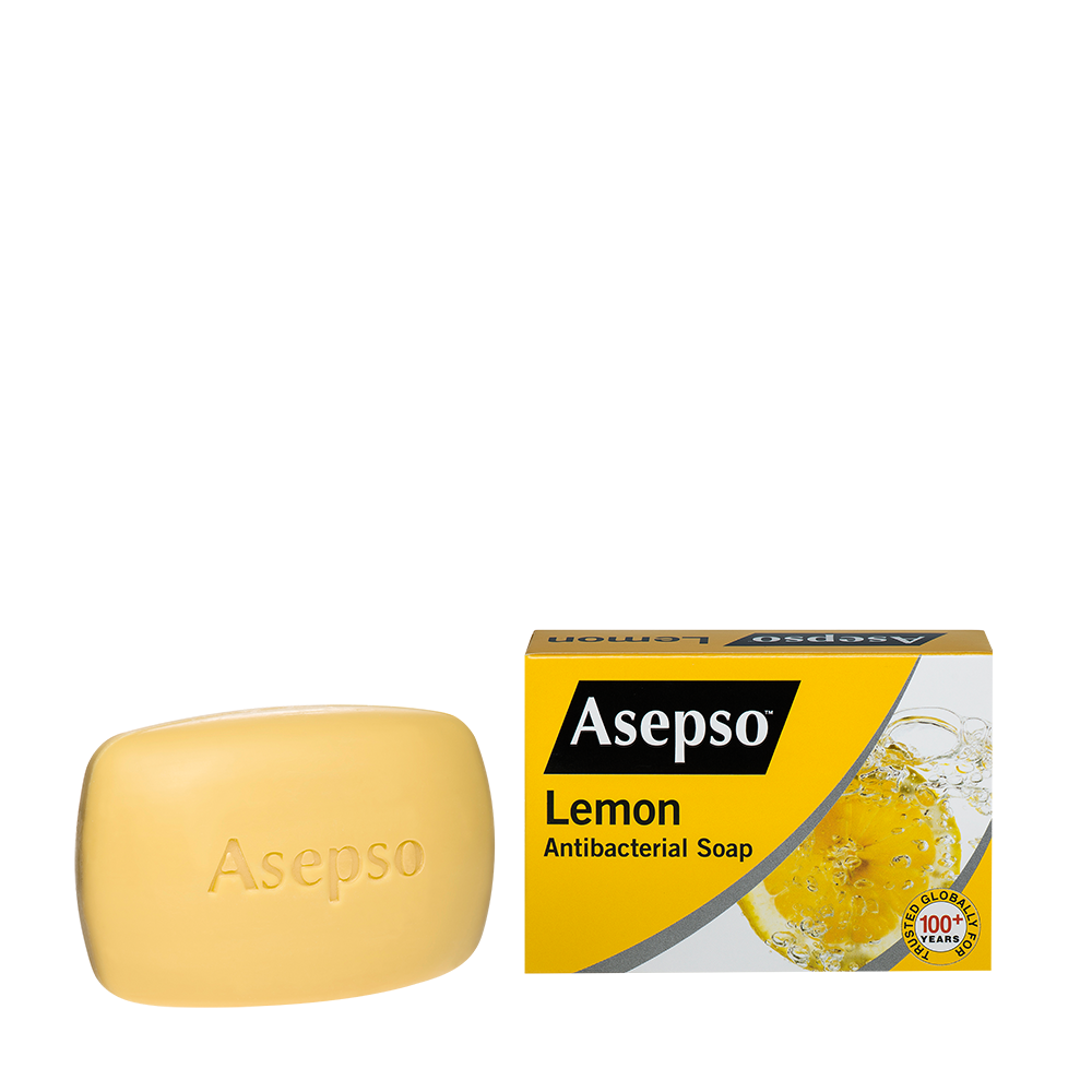 LEMON - It contains a proven antibacterial agent with moisturiser that leaves your skin feeling zesty fresh and smooth with every wash.Available in 70G, 80G,150G