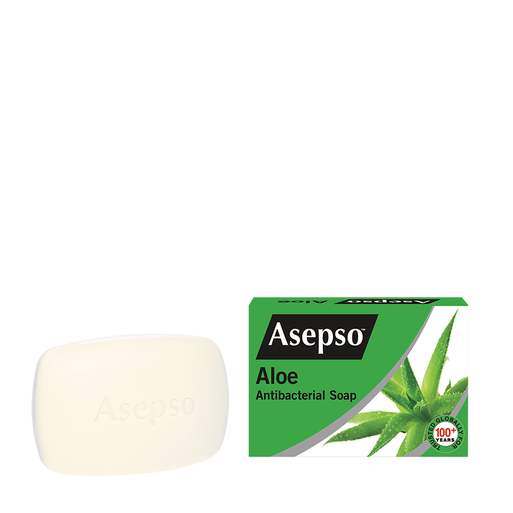 ALOE - It contains aloe and antibacterial agent with moisturiser that helps fight and prevent the spread of harmful germs, while leaving your skin fresh and smooth.Available in 70G, 150G