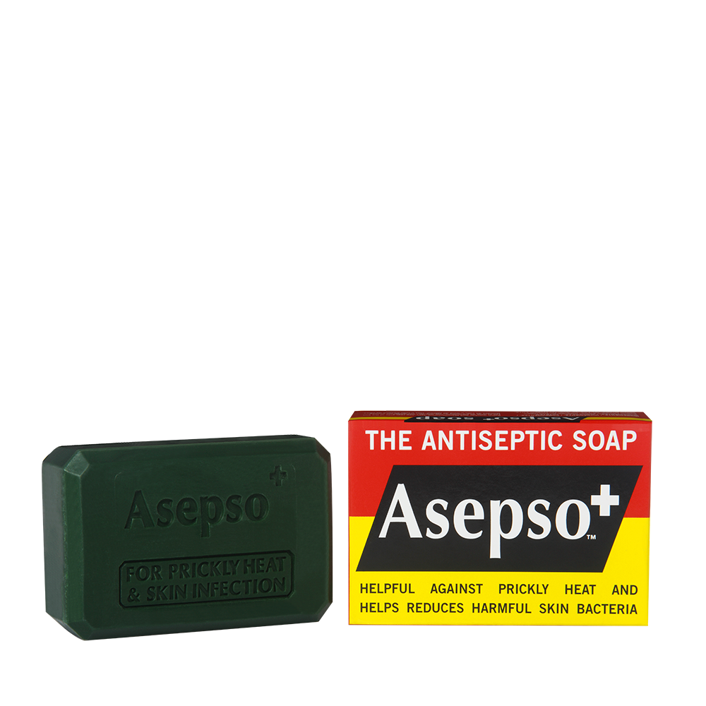 ASEPSO+ - It contains dual antibacterial ingredients in this mild soap* proven to help relieve and control prickly heat, skin infections and spread of harmful germs.*Suitable and recommended for frequent use.Available in 80G