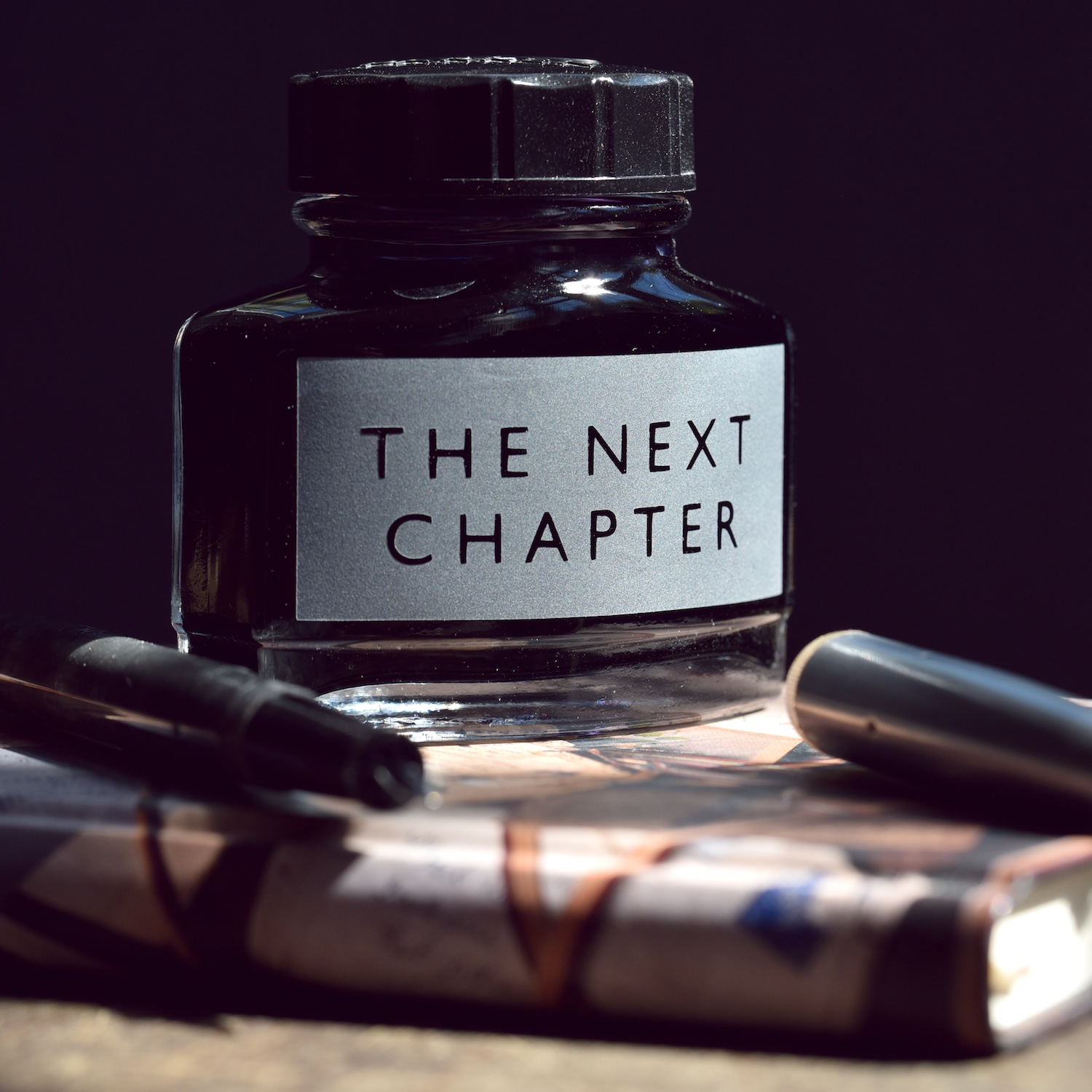 the-next-chapter-etched-parker-ink-bottle-vinegar-and-brown-paper.jpg