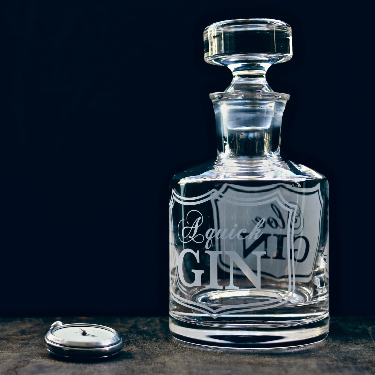 quick-gin-sloe-gin-etched-decanter-vinegar-and-brown-paper.jpg