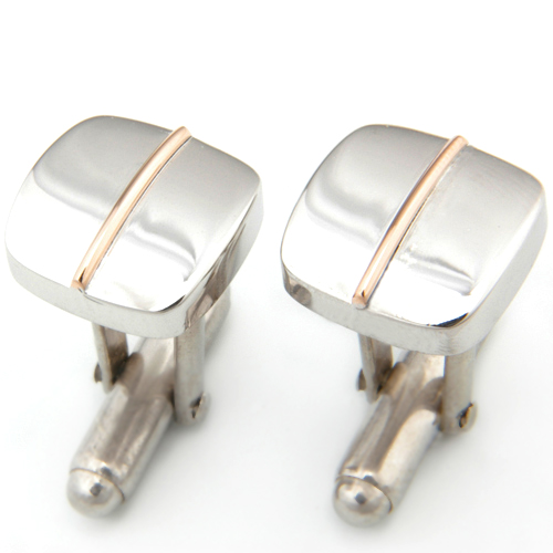Gents Silver and Yellow Gold Cufflinks to match Wedding Ring.jpg