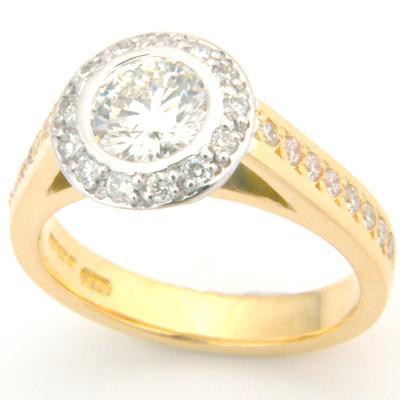 18ct Yellow and White Gold Tiffany Inspired Diamond Engagement Ring 1.jpg