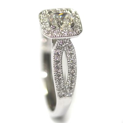 Diamond Halo Engagement Ring with Split Diamond Set Shoulders 3.jpg