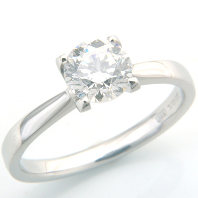 Platinum Four Claw Solitaire Diamond Engagement Ring 1.jpg