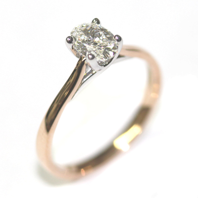 18ct Rose and White Gold Solitaire Oval Cut Diamond Engagement Ring 1.jpg