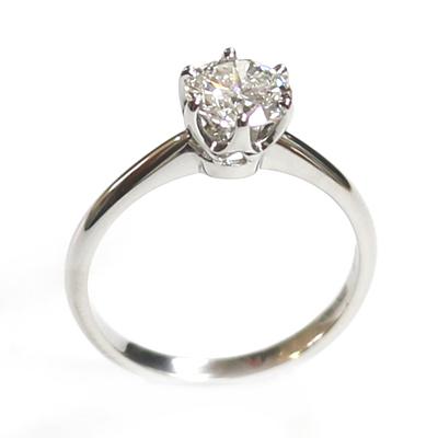 Platinum 6 Claw Tiffany Style Diamond Engagement Ring 4.jpg