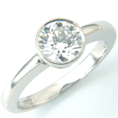 18ct White Gold Rub Set Diamond Solitaire Engagement Ring 1.jpg