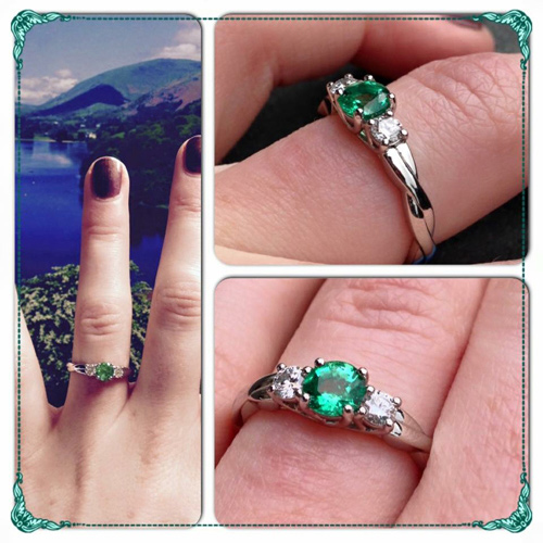 Bespoke Emerald and Diamond Trilogy Engagement Ring,  Form Bespoke Jewellers, Recommended Jewellers, Leeds, Yorkshire.JPG