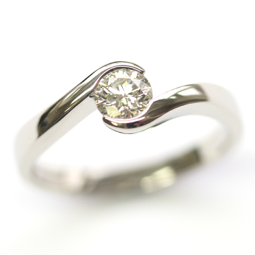 Palladium Round Brilliant Cut Diamond Swirl Engagement Ring.jpg