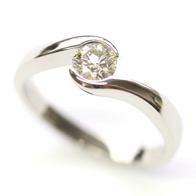 Palladium Round Brilliant Cut Diamond Swirl Engagement Ring 3.jpg