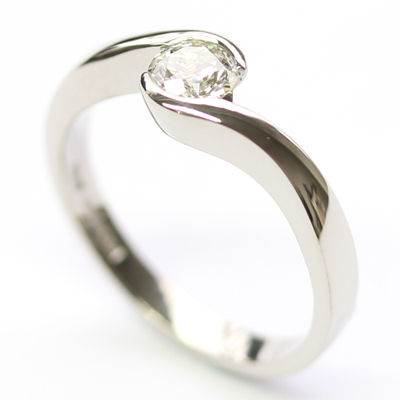 Palladium Round Brilliant Cut Diamond Swirl Engagement Ring 6.jpg