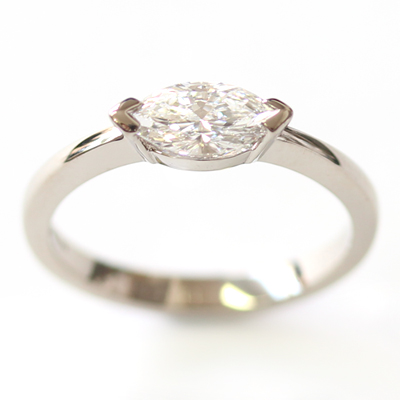 18ct White Gold Solitaire Marquise Cut Diamond Engagement Ring 3 - Copy.jpg