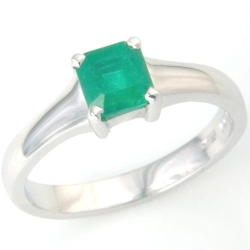 18ct White Gold Emerald Engagement Ring.jpg