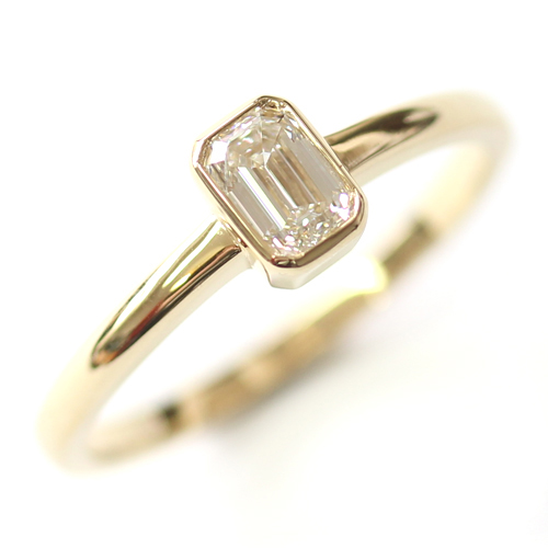 18ct Yellow Gold Solitaire Emerald Cut Diamond Engagement Ring.jpg