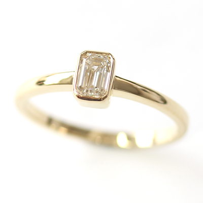 18ct Yellow Gold Solitaire Emerald Cut Diamond Engagement Ring 1.jpg