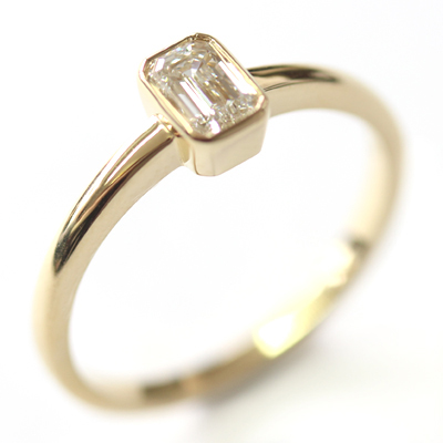 18ct Yellow Gold Solitaire Emerald Cut Diamond Engagement Ring 4.jpg