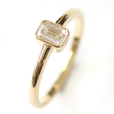 18ct Yellow Gold Solitaire Emerald Cut Diamond Engagement Ring 5.jpg