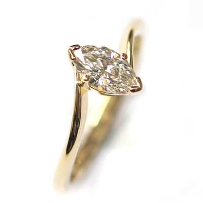 18ct Yellow Gold Solitaire Marquise Cut Diamond Engagement Ring 2.jpg