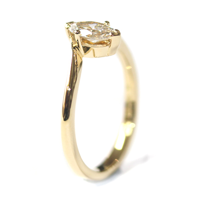 18ct Yellow Gold Solitaire Marquise Cut Diamond Engagement Ring 4.jpg