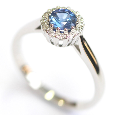 Crown Collection White Gold Sapphire and Diamond Halo Ring 2.jpg