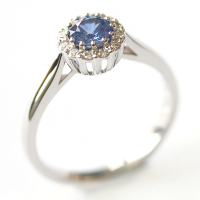 Crown Collection White Gold Sapphire and Diamond Halo Ring 5.jpg