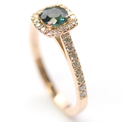 18ct Rose Gold Tourmaline and Diamond Halo Engagement Ring 1.jpg
