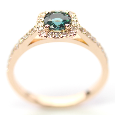 18ct Rose Gold Tourmaline and Diamond Halo Engagement Ring 2.jpg
