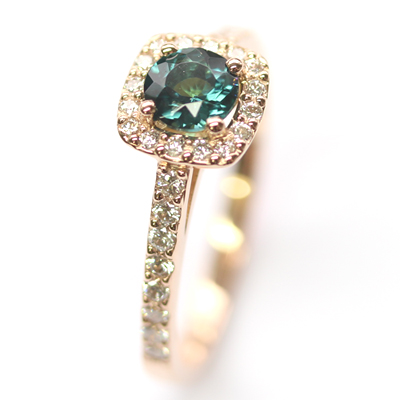 18ct Rose Gold Tourmaline and Diamond Halo Engagement Ring 3.jpg