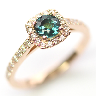 18ct Rose Gold Tourmaline and Diamond Halo Engagement Ring 4.jpg