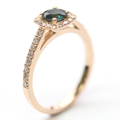 18ct Rose Gold Tourmaline and Diamond Halo Engagement Ring 5.jpg