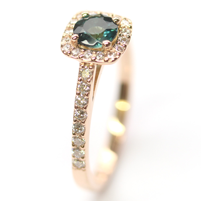 18ct Rose Gold Tourmaline and Diamond Halo Engagement Ring 6.jpg