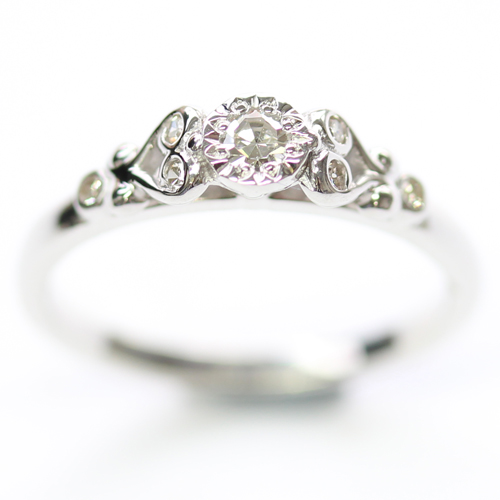 9ct White Gold Scroll Engagement Ring with Customers Diamonds.jpg