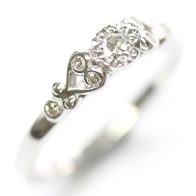 9ct White Gold Scroll Engagement Ring with Customers Diamonds 2.jpg