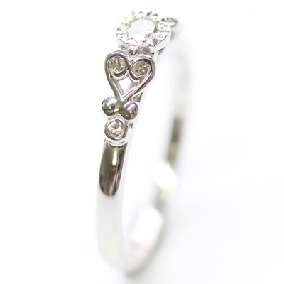 9ct White Gold Scroll Engagement Ring with Customers Diamonds 3.jpg