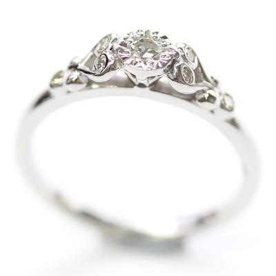 9ct White Gold Scroll Engagement Ring with Customers Diamonds 5.jpg