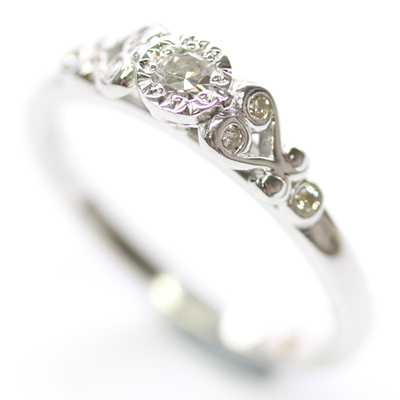 9ct White Gold Scroll Engagement Ring with Customers Diamonds 6.jpg