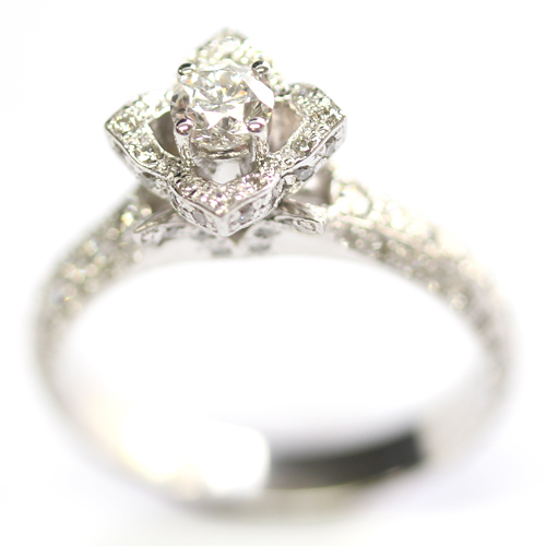 18ct White Gold Diamond Rose Engagement Ring.jpg