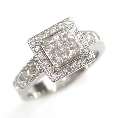 Platinum Princess Cut Diamond Cluster Engagement Ring 2.jpg