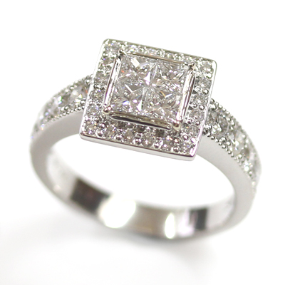 Platinum Princess Cut Diamond Cluster Engagement Ring 1.jpg