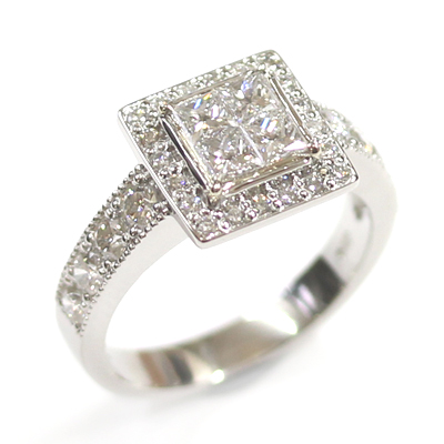 Platinum Princess Cut Diamond Cluster Engagement Ring 3.jpg